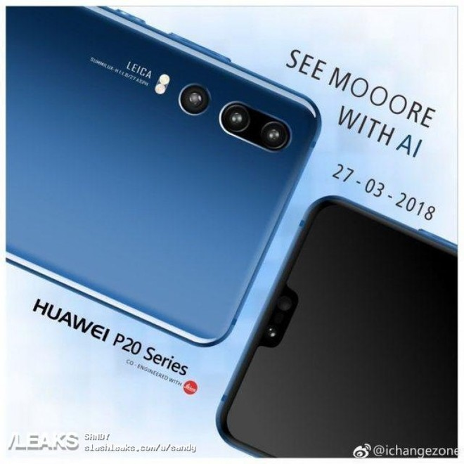 A new render with a series of Huawei P20 smartphones